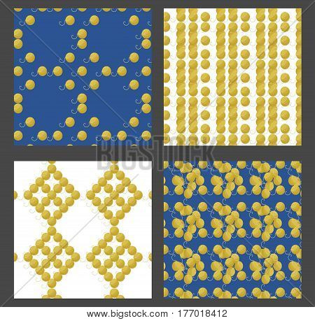 Seamless colorful patterns vector set with woolen yarn skeins for knitting and handmade concept