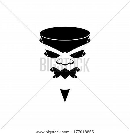 Aggressive character in the mask, black and white logo template. Angry taper pointer with a face in negative space.