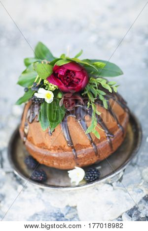 Chocolate cake decorated with fresh blackberry and flowers on rustic gray background