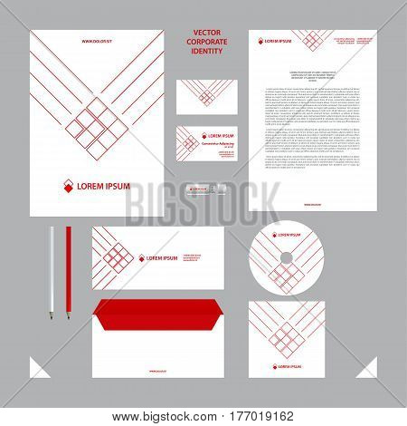 Corporate identity business template. White branding set. Business set such as business cards, letterhead, folder, envelope