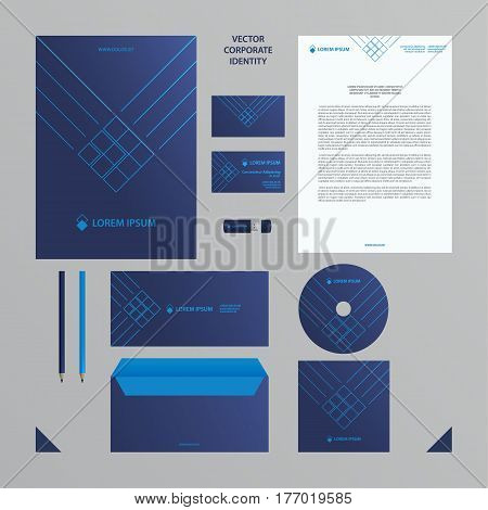 Corporate identity business template. Blue branding set. Business set such as business cards, letterhead, folder, envelope