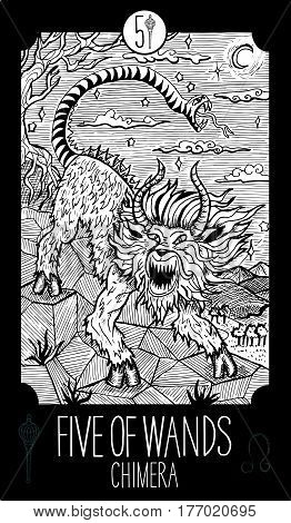 Five of wands. Chimera. Minor Arcana Tarot card. Fantasy line art illustration. Engraved vector drawing. See all collection in my portfolio set