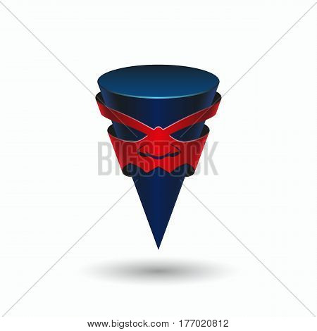 Angry taper pointer with a face. Aggressive character in the mask, logo template.