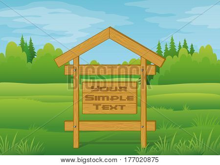 Wood Sign for Your Text in Summer Forest on Green Landscape, Background for Your Design. Eps10, Contains Transparencies. Vector