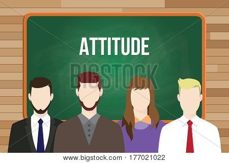 attitude text on chalkboard illustration with man and woman in front of the board vector