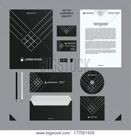 Corporate identity business template. Black branding set. Business set such as business cards, letterhead, folder, envelope