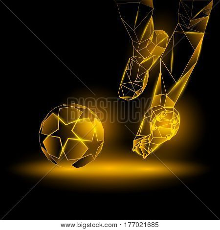 Polygonal Football Kickoff illustration. Soccer player hits the ball. Sports yellow neon background.
