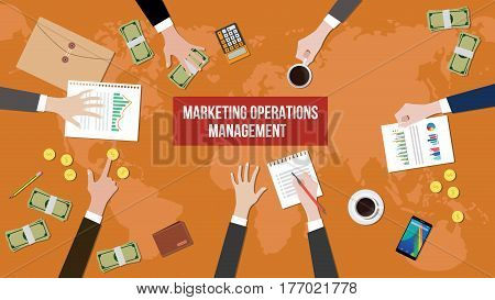 discussion about marketing operations management on a meeting table illustration with paperworks, money and document folder on top of table vector