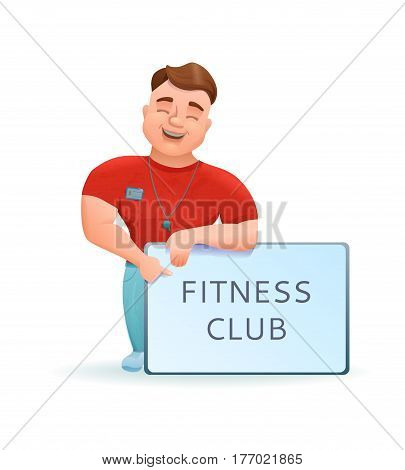 Personal fitness trainer or bodybuilder cartoon character with sport club banner. Vector illustration