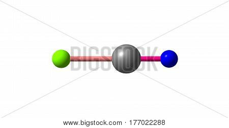 Cyanogen chloride is an organic compound with the formula NCCl. This linear triatomic pseudohalogen is an easily condensed colorless gas. 3d illustration