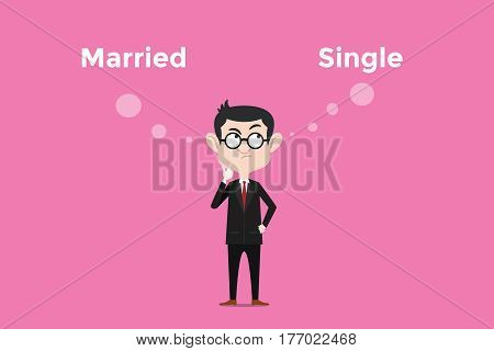 confused to decide for being married vs single and comparing about its benefits illustration vector