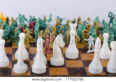 the threat of the white chess Queen