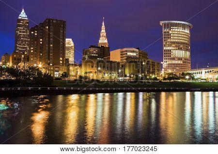 Cleveland skyline across Cuyahoga River. Cleveland Ohio USA.