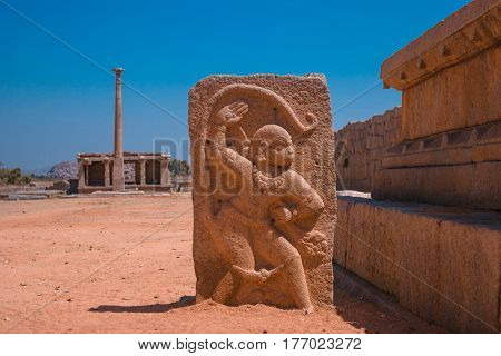 Stone carving of hindu god Hanuman. Hampi Karnataka India