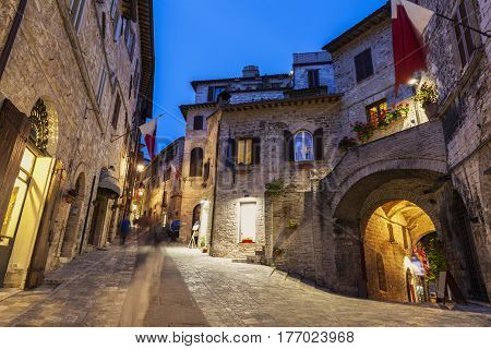 Old town of Assisi at night. Assisi Umbria Italy.