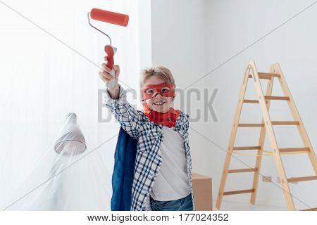Superhero Doing Home Renovation