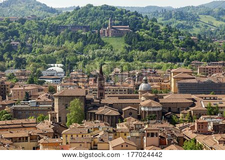 Architecture of Bologna - aerial view of the city. Bologna Emilia-Romagna Italy.