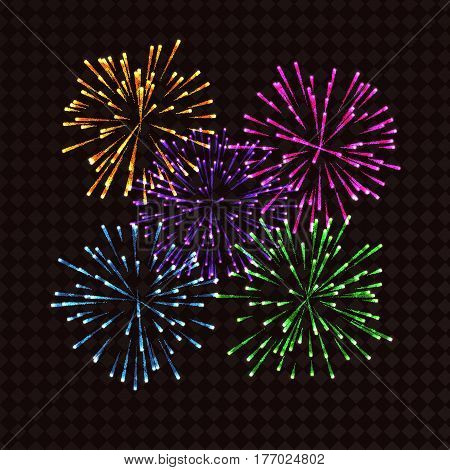 Colorful fireworks on transparent background for design. Vector illustration.