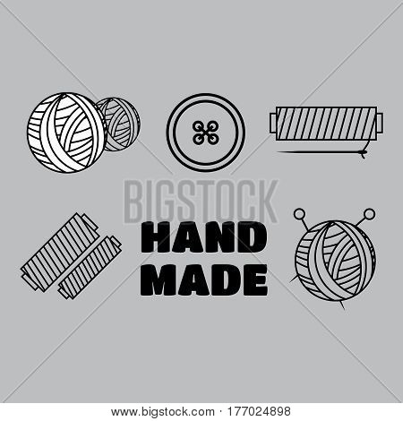 Handmade black thin line icons on white background. Handmade workshop logo set eps10