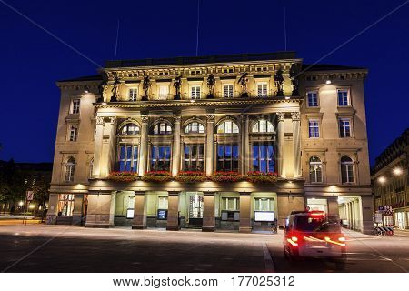 Architecture of Bundesplatz in Bern at night. Bern Bern-Mittelland Switzerland.