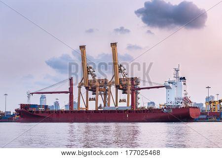 Terminal unloading container of Bangkok port., Business transportation.
