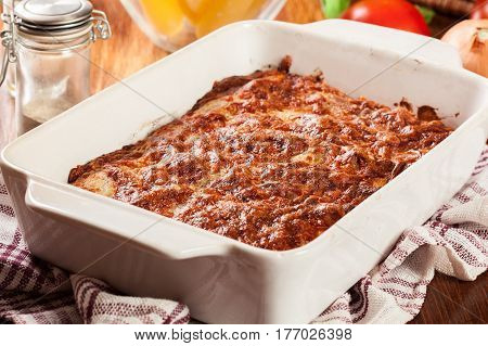 Italian Cannelloni Pasta Baked In Casserole Dish