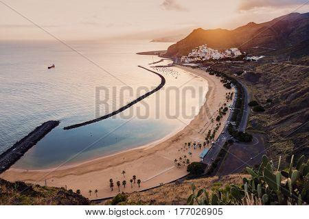 Playa de Las Teresitas on Tenerife at sunset. Tenerife Canary Islands Spain.