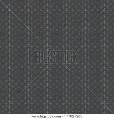 Abstract seamless pattern with a lot of small dark beige arrows on dark grey background placed in direct and inverse position