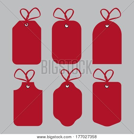 Red Price tags and gift cards set. Label paper sale design eps10