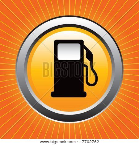 gas or fuel icon on orange starburst
