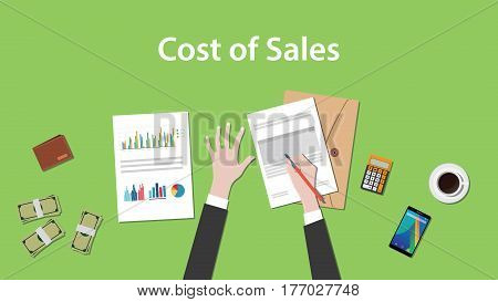 Counting cost of sales on a paperworks with calculator, money and coffee on top of table vector