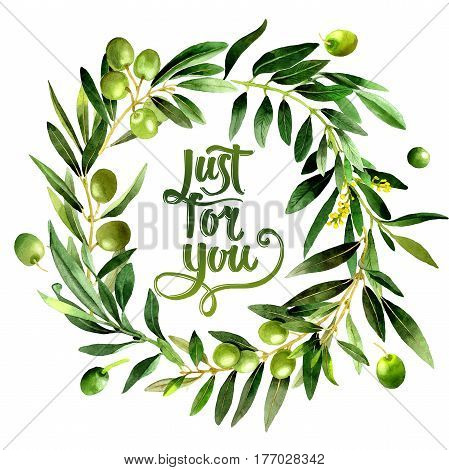 Olive tree wreath in a watercolor style isolated. Full name of the plant: Branches of an olive tree. Aquarelle olive tree for background, texture, wrapper pattern, frame or border.