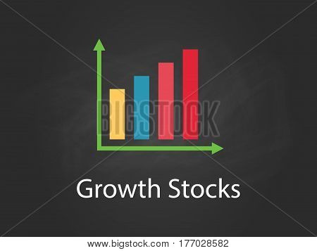 growth stocks chart illustration with colourful bar, white text and black background vector