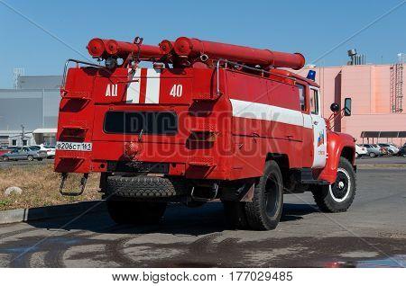 Demonstration of fire equipment near the shopping center Rostov-on-Don Russia September 19 2015