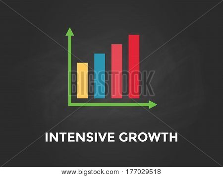 Intensive growth chart illustration with colourful bar, white text and black background vector