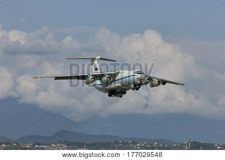 Russian cargo airplane taking off,Soch,Russia, 9 august 2012