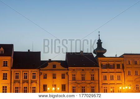 Main Square of Ceske Budejovice. Ceske Budejovice South Bohemia Czech Republic.