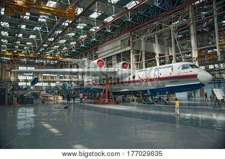 Seaplane Be-200ChC construction Taganrog Russia May 18 2013. Aviation plant These aircraft are already flying.