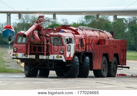 Aerodrome fire truck Taganrog Russia May 16 2015. Aviation plant This machine runs on the ground with water seaplanes