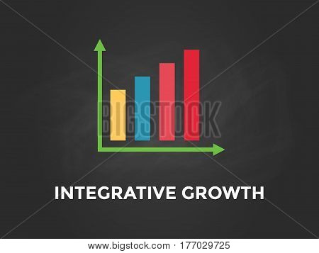 Integrative growth chart illustration with colourful bar, white text and black background vector