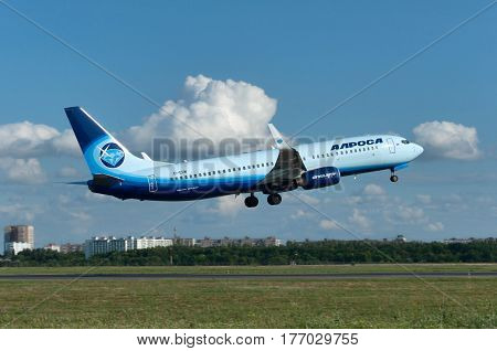 Takeoff of the aircraft Boeing-737 Rostov-on-Don Russia 15th of June 2015. Official spotting.