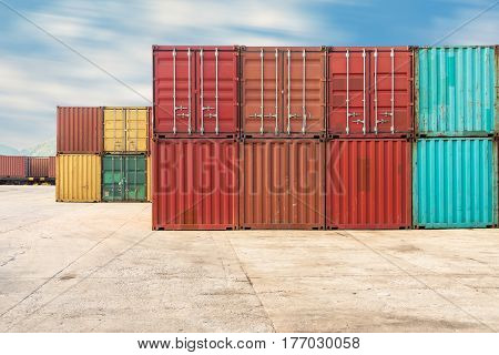 Handling stack of container shipping Container shipping yard.