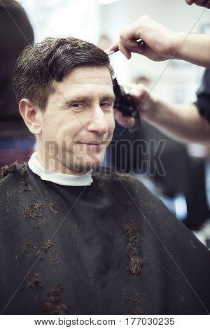 Happy Man In A Barbershop