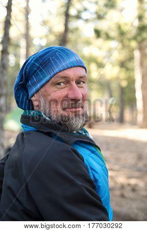 Portrait Of A Happy Bearded Man, Traveler