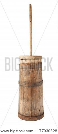 old butter churn isolated on a white background.