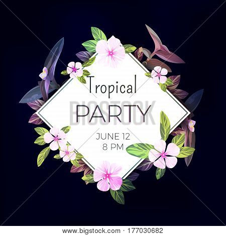 Customizable floral design template for summer beach party. Tropical flyer with pink and purple exotic flowers and plants, vector illustration.