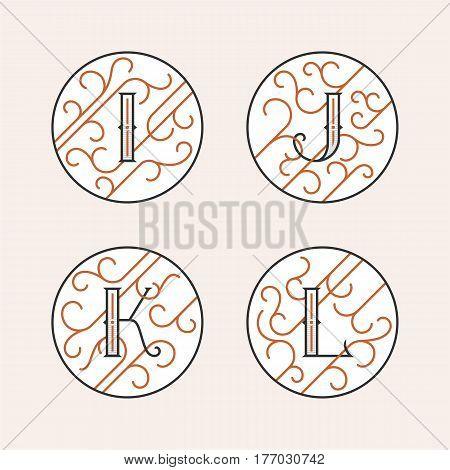 Decorative Initial Letters I, J, K, L. Luxury ornate monogram emblems in outline style. Vector illustration.