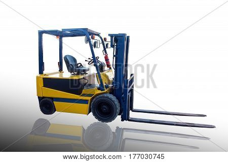 Lifting forklift truck on isolate white background.