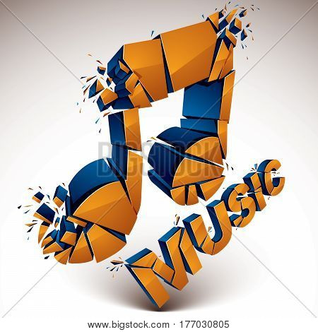 3D Vector Orange Demolished Musical Notes, Music Word. Dimensional Groove Design Element With Refrac
