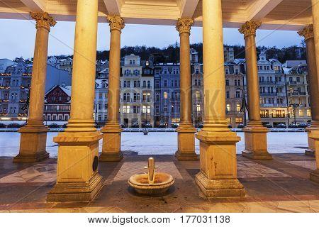 Mill Colonnade in Karlovy Vary. Karlovy Vary (Carlsbad) Bohemia Czech Republic.